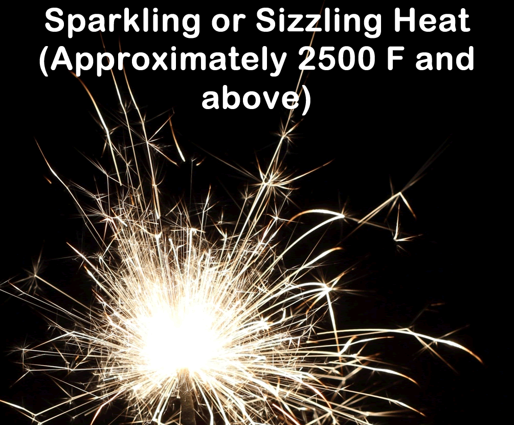 Moose forge sparkling or sizzling heat should be avoided the sizzling heat pretty much describes the visual effect bright sparks similar to those from grinding steel nvjuhfo Choice Image